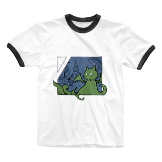 冒涜的な猫ルフ(色付き) Ringer T-shirts