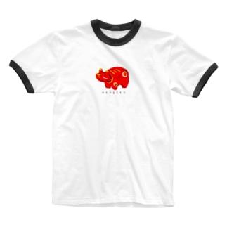 やさしい赤べこ Ringer T-shirts