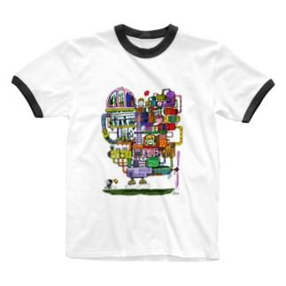 ハートの飛行船 Ringer T-shirts