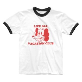 いぬねこちゃん/LIFE ALL VACATION CLUB Ringer T-shirts