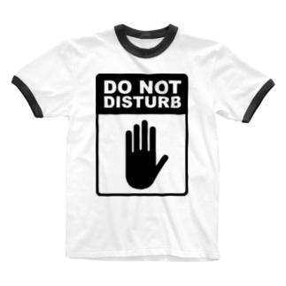 起こさないでください(黒) Ringer T-shirts