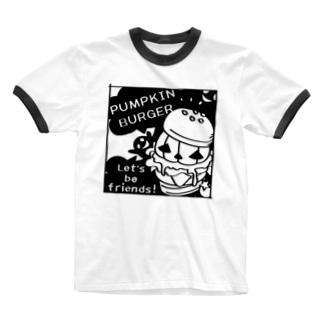 Gz かぼちゃバーガーD Ringer T-shirts