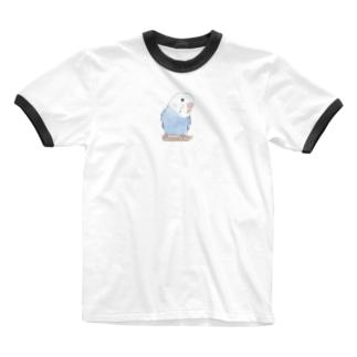 おしゃまな止まり木セキセイインコちゃん【まめるりはことり】 Ringer T-shirts