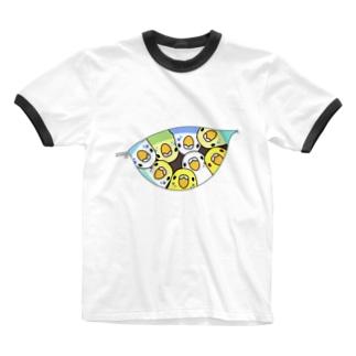 三密です!むちむちセキセイインコさん【まめるりはことり】 Ringer T-shirts