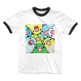 みっちりむっちり過密マメルリハさん【まめるりはことり】 Ringer T-shirts