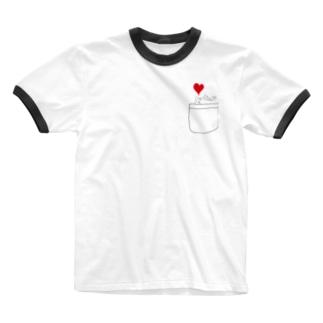 ポケットからキュン Ringer T-shirts