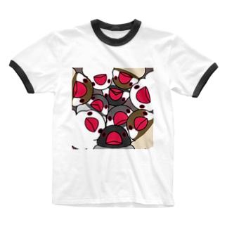 みっちりむっちり過密文鳥さん【まめるりはことり】 Ringer T-shirts