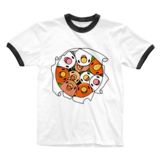 三密です!むちむちコザクラインコさん【まめるりはことり】 Ringer T-shirts
