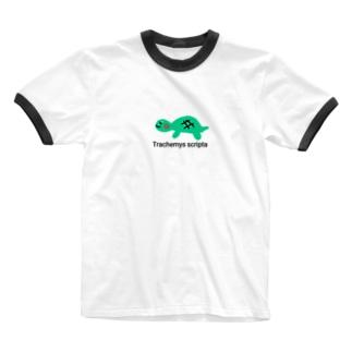 亀さん Ringer T-shirts