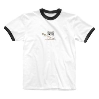黒白猫のシンプルモノトーン Ringer T-shirts