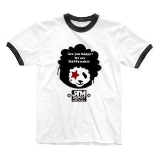 アフロヘアーのパンダ!! Ringer T-shirts
