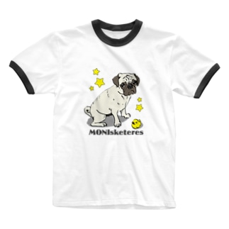 【MONIsketeres】ひよことパグ Ringer T-shirts