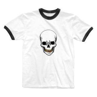 スカル【金歯】 Ringer T-shirts