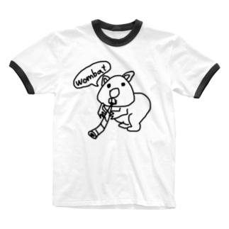 ウォンバットとディジュリドゥ Ringer T-shirts