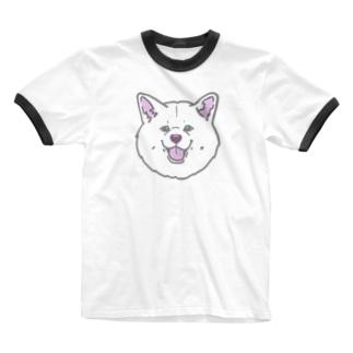 秋田犬ハッピースマイル白毛 Ringer T-shirts