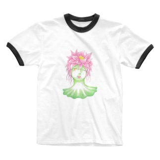 花信風のお店の蓮の精 Ringer T-shirts