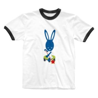 星をみつけたウサギ Ringer T-shirts