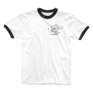 マカロンおひるねまち Ringer T-shirts