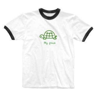 亀ちゃん Ringer T-shirts