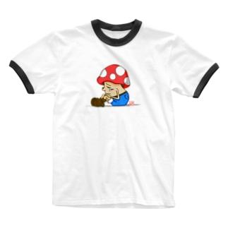 キノコっち_しょぼん Ringer T-shirts