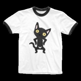 ザ・ワタナバッフルの 白いおパンツなクロニャンコ Ringer T-shirts