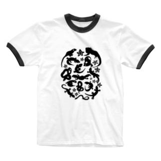 爬虫類たちのシルエット Ringer T-shirts