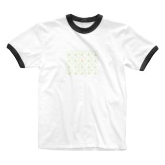 屋根裏ひみつ結社のうさぎ いっぱい WAROLIER-ワロリエ- Ringer T-shirts