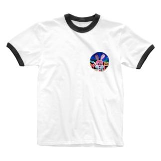 遊園地の仲間たち(ウサギ) Ringer T-shirts