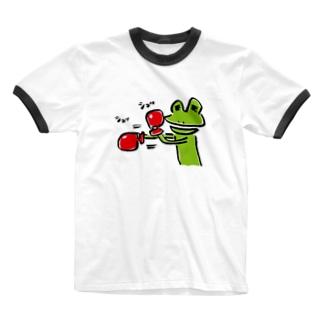 ボクシングカエル Ringer T-shirts