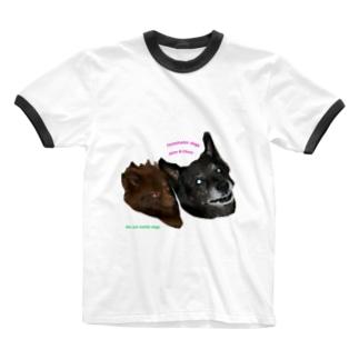 ミステリアスな戦うワンコ Ringer T-shirts