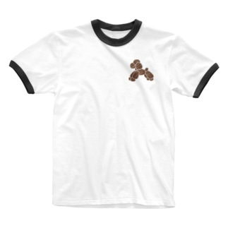 バルーン・トイプードル/茶 Ringer T-shirts