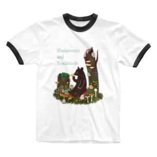 きのことクマ Ringer T-shirts