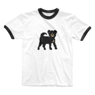 黒いわんこ Ringer T-shirts