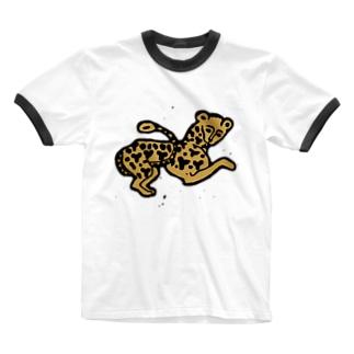 ヒョウ Ringer T-shirts