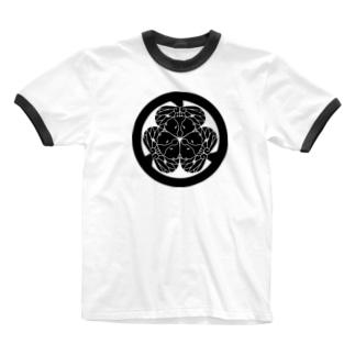 動物家紋。H.T.(三つ葉葵ハシビロコウ) Ringer T-shirts