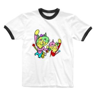 ナコオくんとネココちゃん Ringer T-shirts