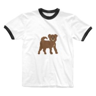 茶色いわんこ Ringer T-shirts
