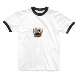 焦げMOMO Ringer T-shirts