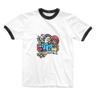 Chubby Bird オカメインコとマンドリン Birdic Inspiration Ringer T-shirts