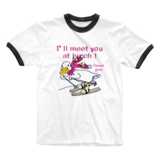 CT75あひるのおひるさんのスキーA Ringer T-shirts