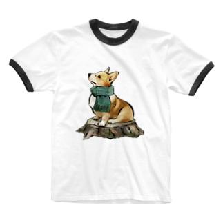 マフラー犬 コーギー Ringer T-shirts