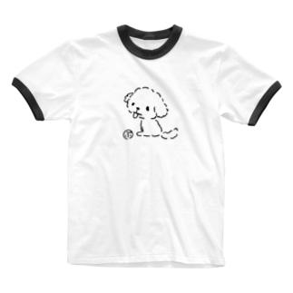 おすわりマルプー Ringer T-shirts