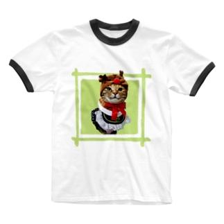 猫プリンちゃんクリスマスver Ringer T-shirts