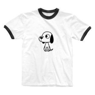 横向きワンコ Ringer T-shirts