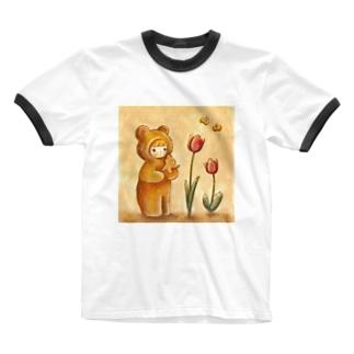 クマちゃんとチューリップ Ringer T-shirts