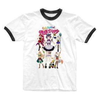 ガールズファイター!ミルクディッパー☆03☆AYA Ringer T-shirts
