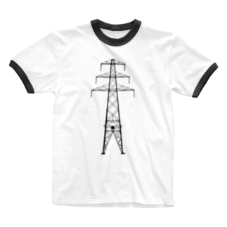鉄塔No.13 田舎鉄塔 Ringer T-shirts
