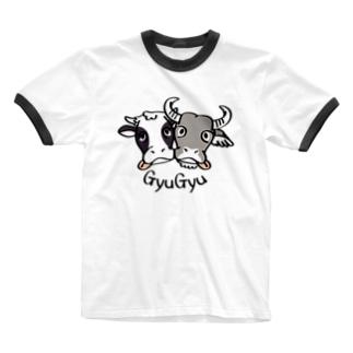 CT86 牛のギュウギュウ*A Ringer T-shirts