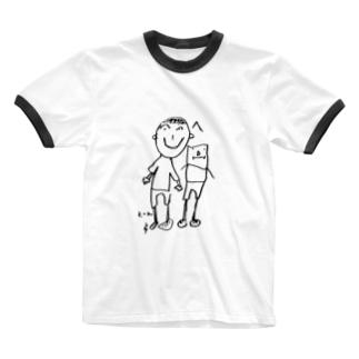 とっん、へ Ringer T-shirts