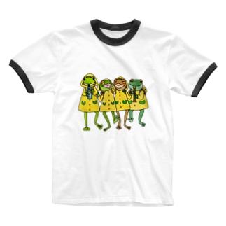 ゲコ下校音楽隊(カラー) Ringer T-shirts